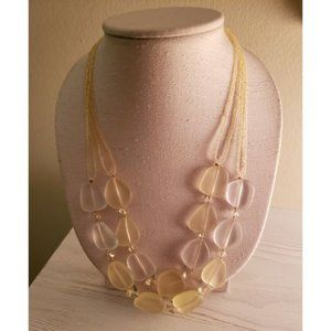 Yellow + White Frosted Bead Statement Necklace